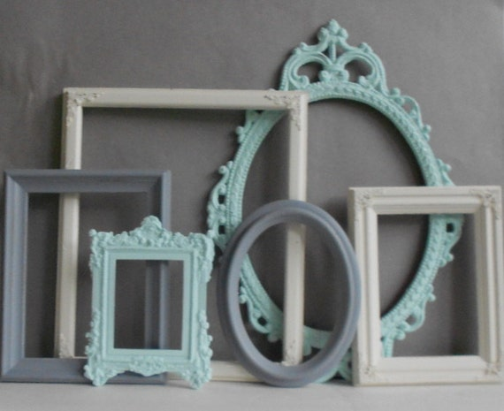 picture frame collection set of 6 mint grey gray antique. Black Bedroom Furniture Sets. Home Design Ideas