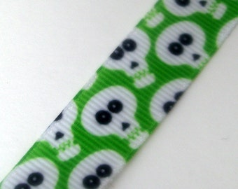 "5 yards - 5/8"" - Skulls on Lime Green Grosgrain Ribbon"