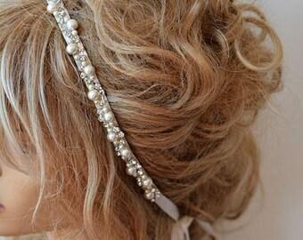 Wedding headband,  Rhinestone and Pearl  headband, Bridal Headband,  Bridal Hair Accessory, Wedding hair Accessory