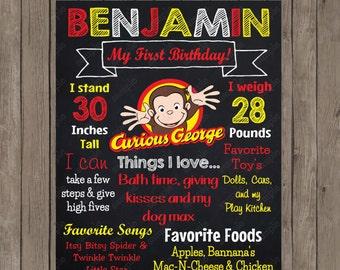 Curious George Chalkboard - Custom Color Printable Poster - Digital File