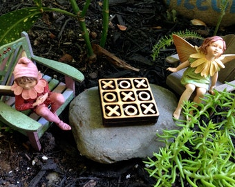 Miniature Tic Tac Toe Game Set wooden handcrafted