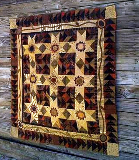 Primitive Folk Art Quilt Pattern Best Of All : Primitive Folk Art Quilt Pattern Pretty Pansy by FiddlestixDesign