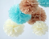 Baby boy Nursery - 7 Tissue Paper Pom Poms - Fast Shipping - also good for Wedding / Baby Shower / Birthday Party