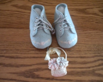 Blue Felt Baby Shoes