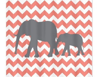Curtains Ideas coral chevron shower curtain : Coral grey bathroom – Etsy