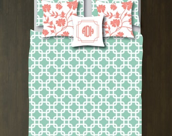 Custom Preppy Chain Link Bedding Set-Duvet Cover-Shams-Grayed Jade-Coral-White-Twin-Full/Queen-King-Bedding-Bedroom-Bed-Kids Rooml-Dorm Room