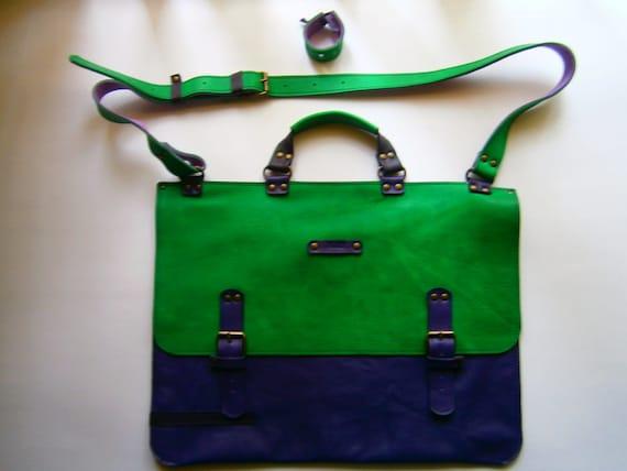 "15 inch Greenie Genuine Leather Briefcase plus bracelet,  15""laptop Bag, Handmade Bag,Men's retro satchel bag,student bag"