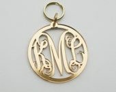 Monogram cutout keychain with circle font or vine font