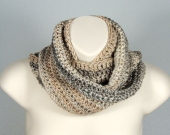 Crochet Infinity Scarf Cowl Shades of Beige and Grey