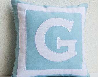 Monogram Pillow Cover, Monogrammed Throw Pillow, Blue White Pillows, Personalized Pillows 14x14, Initial Pillow Kids Room Decor, Cushion