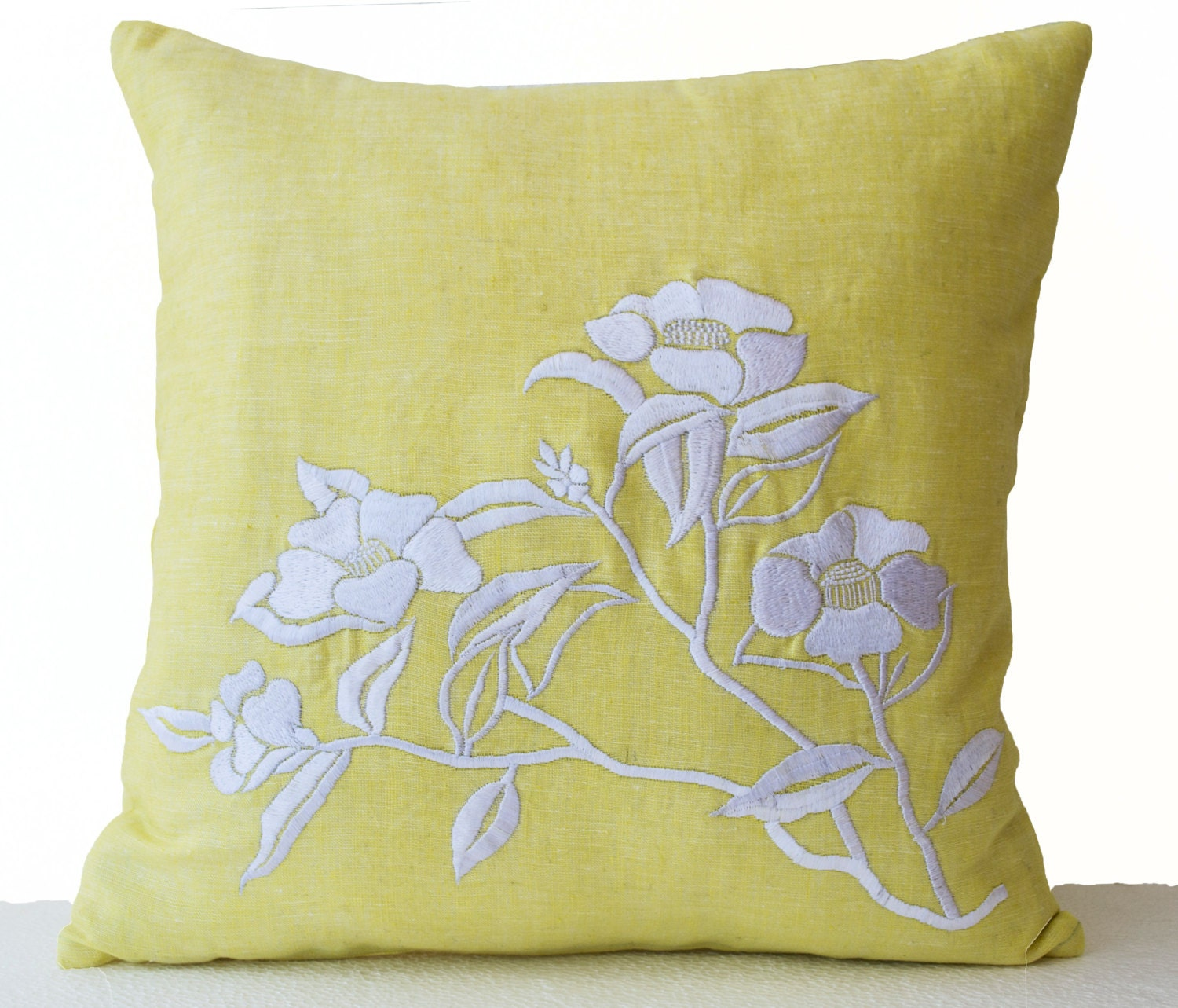 Decorative Pillows Flowers : Flower Pillow Yellow Pillow Cover Camellia Flowers by AmoreBeaute