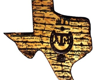 Texas A&M Themed Texas State Plaque with Antique Barbed Wire  - Medium