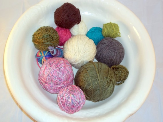 1 Pound Mixed Lot of Acrylic Yarn - Pink, Green, White, Multicolor - Yarn Destash