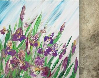 IRISES Painting floral wall art Iris FREE SHIPPING palette knife impasto Modern blue green lilac paintings on canvas acrylic summer Ksavera