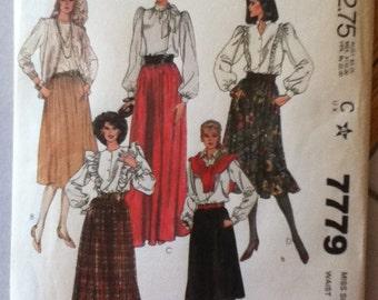 """McCalls Skirt Pattern 7779 Size: 14, Waist 28"""", Hip 38"""""""