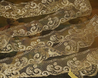 "Early 1900's Antique Pale Gold Metallic Lace Trim 3"" wide Half Yard"