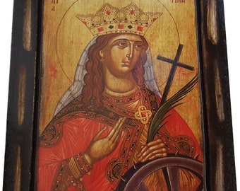 Saint St. Catherine / Katerina - Orthodox Byzantine icon on wood handmade (22.5 cm x 17 cm)