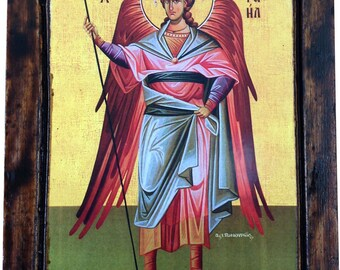 Archangel Raphael - Orthodox Byzantine icon on wood handmade (22.5cm x 17cm)