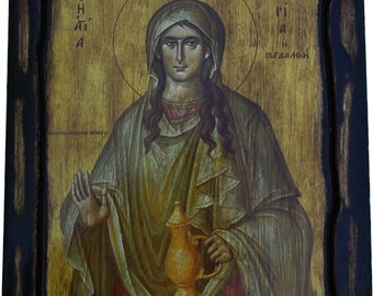Saint St. Mary Magdalen - Orthodox Byzantine icon on wood handmade (22.5 cm x 17 cm)