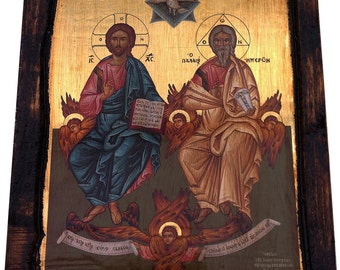 Holy Trinity - Orthodox Byzantine Gilded icon on wood handmade (22.5cm x 17cm)