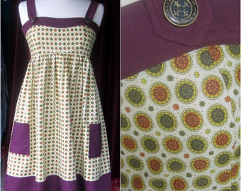 Handmade One of a Kind Violet and Olive Calico Print Jumper Dress Only one available! sz s