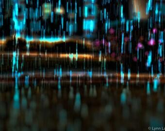 "Abstract Photography -- rain aqua blue bokeh night photography winter photos large abstract wall art prints sparkly 16x20 24x36 ""Damage"""