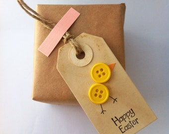 Happy Easter tags- Easter chick - greeting gift tag -party favor tags (set of 6)