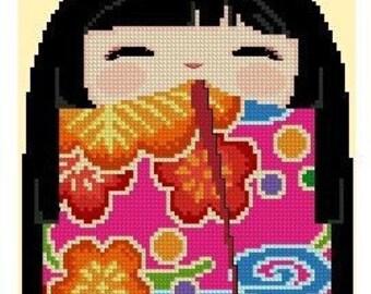 Cute Kokeshi Girl Doll 3 CHIHARU -Cross Stitch PDF Pattern