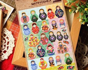 Russia Matryoshka Paper Sticker  - 1 Sheet
