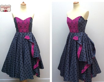 Made to Order, handmade grey & black polka dot, full circle 50's dress, with contrast pink lace detail and boned bodice, UK sizes 6-24
