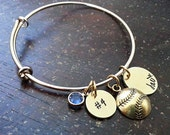 Sports Mom Hand Stamped Bangle Bracelet - Gold Plated, baseball mom, football mom, Senior Gift, Mother's Day, Personalized