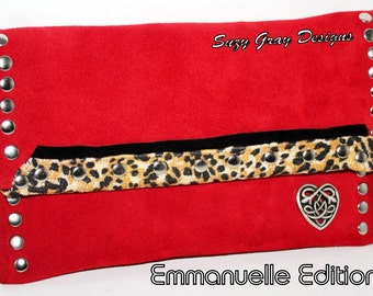 Leopard Clutch - Handcrafted Leather Clutch -  Suede Leather Clutch - Handcrafted In Ca