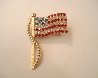 Patriotic Vintage Crystal Rhinestone American Flag Brooch Prong Set