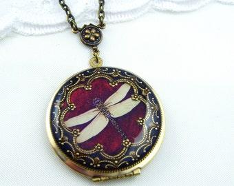 Vintage Dragonfly Brass Locket. Resin Locket. Wedding Locket. Picture Locket. Mother's Day Locket