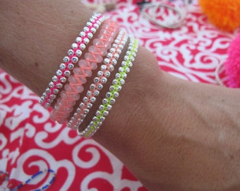 Neon & Silver Bracelet Stack, Bright Bracelet Stack with tassels, Friendship Bracelets - Arm Candy Christmas Gift