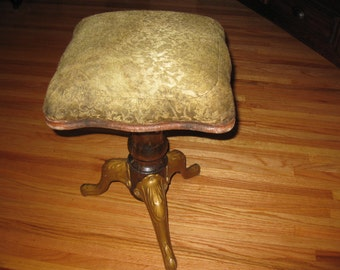 SWIVEL PIANO STOOL-Antique From The 1800's-Cast Iron Legs-Wood Column-Original Upholstery