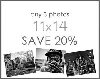 Save 20% - Any Three 11x14 Prints