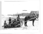 Russia Village In Winter * Downloadable FIle* Vintage Black and White Photo* SLed