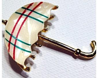 Vintage Umbrella Brooch, Umbrella Lapel Pin, MOP Umbrella Pin Brooch