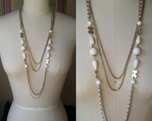 layered vintage white and gold 70's disco necklace