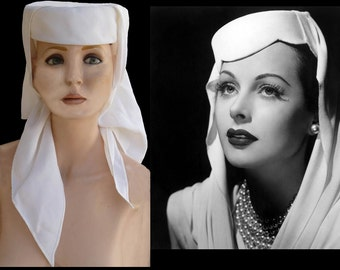 Vintage 40s 50s Hat Pillbox with Scarf Bergdorf Goodman Hedy Lamarr Style Camelot turban Scarf toque White Unique Medieval New