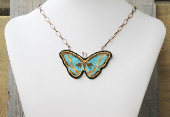 Blue Butterfly Jewelry: Blue Butterfly Necklace Turquoise Butterfly Jewelry Summer