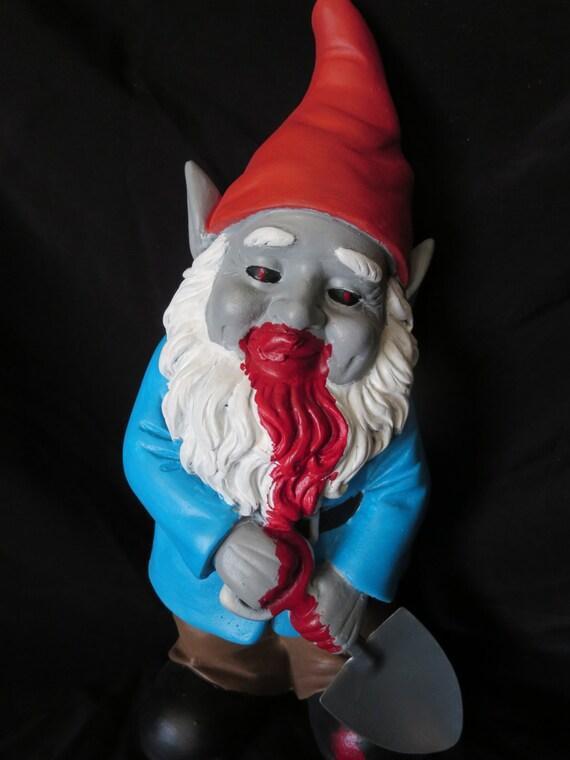 Gnome In Garden: Zombie Garden Gnome Halloween Bloody