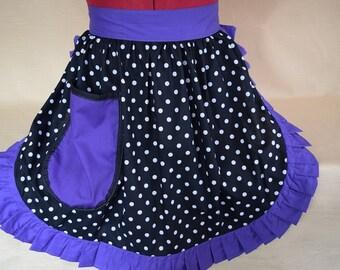 Retro Vintage 50s Style Half Apron / Pinny - Black & White Polka Dot with Purple Trim