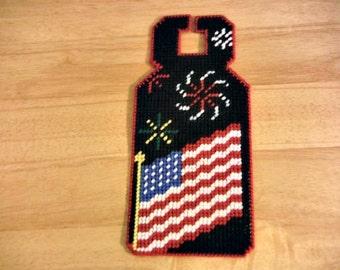 July Door Hanger, plastic canvas, needlepoint item,  flag door hanger, Summer door hanger,  patriotic, door hanger gift, fireworks decor