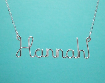 Personalized Sterling Silver Name Necklace • Custom Name Jewelry • Wire Word Pendant • Bridesmaid Gift • Gifts Under 20 • Gifts For Her