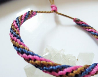 Blue Navy Pink  & Brown Friendship Bracelet/Love/Surf Bracelet Handmade