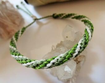 Green & White Friendship Bracelet/Love/Surf Bracelet Handmade Wristband