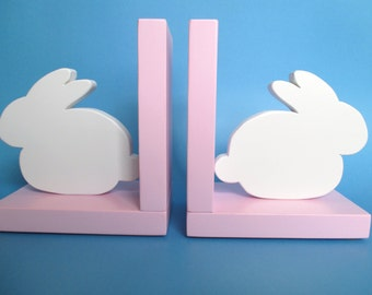 Bunny Bookends, Childrens Room Decor, Book Holder, Nursery Room Decor, Easter Gift, Bunny Decor, Nursery, Kids Bookends, Baby Shower Gift