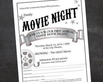 Custom Printable Family OR Mother Son Movie Night School Or Church Flyer PTO